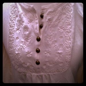 Tops - Falls Creek Creamy Top with Embroidery and Buttons